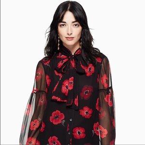 Kate Spade Poppy Silk Blouse
